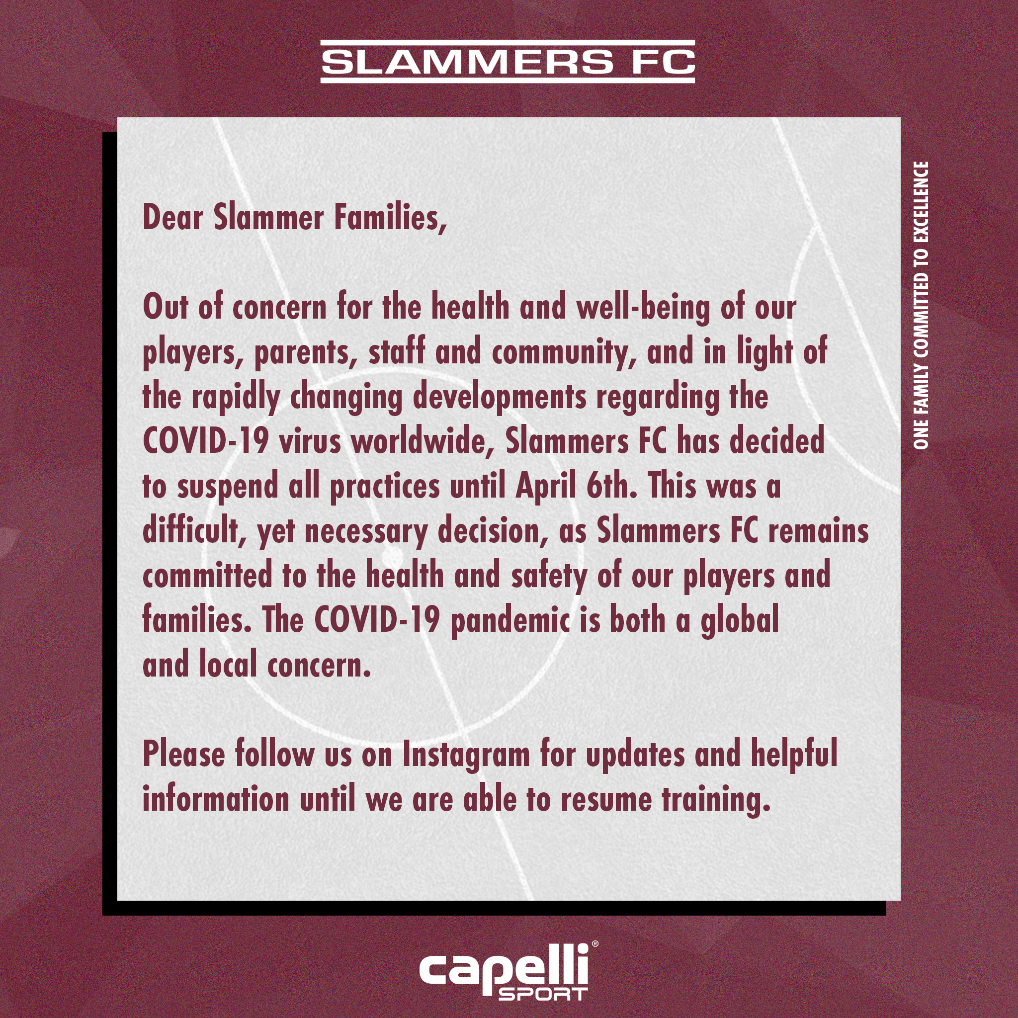 slammers fc march 13 announcement coronavirus